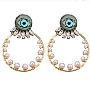 Jewelry - Evil Eye Hoop Gold Tone Earrings with pearls new